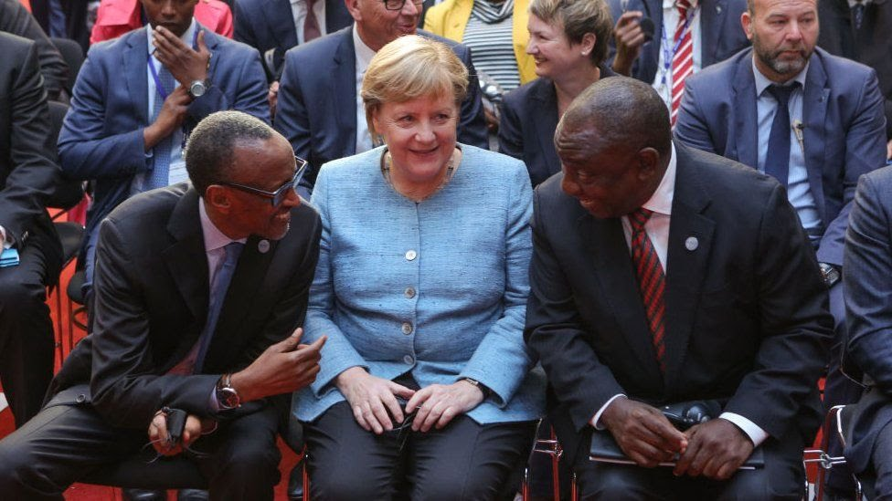 President of the Republic of Rwanda, Paul Kagame, German Chancellor Angela Merkel and President of the Republic of South Africa Matamela Cyril Ramaphosa attend the G20 Investment Summit