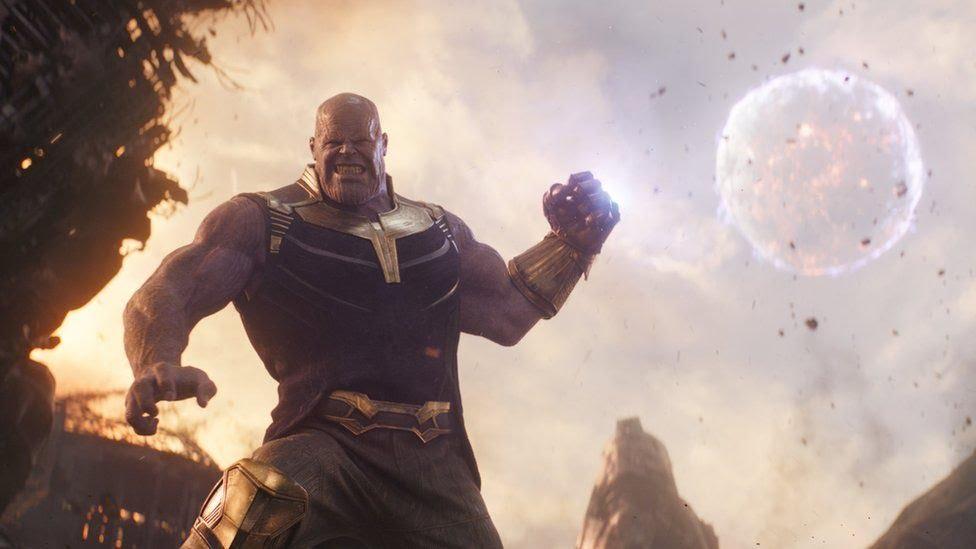 Thanos in scene from Avengers: Infinity War