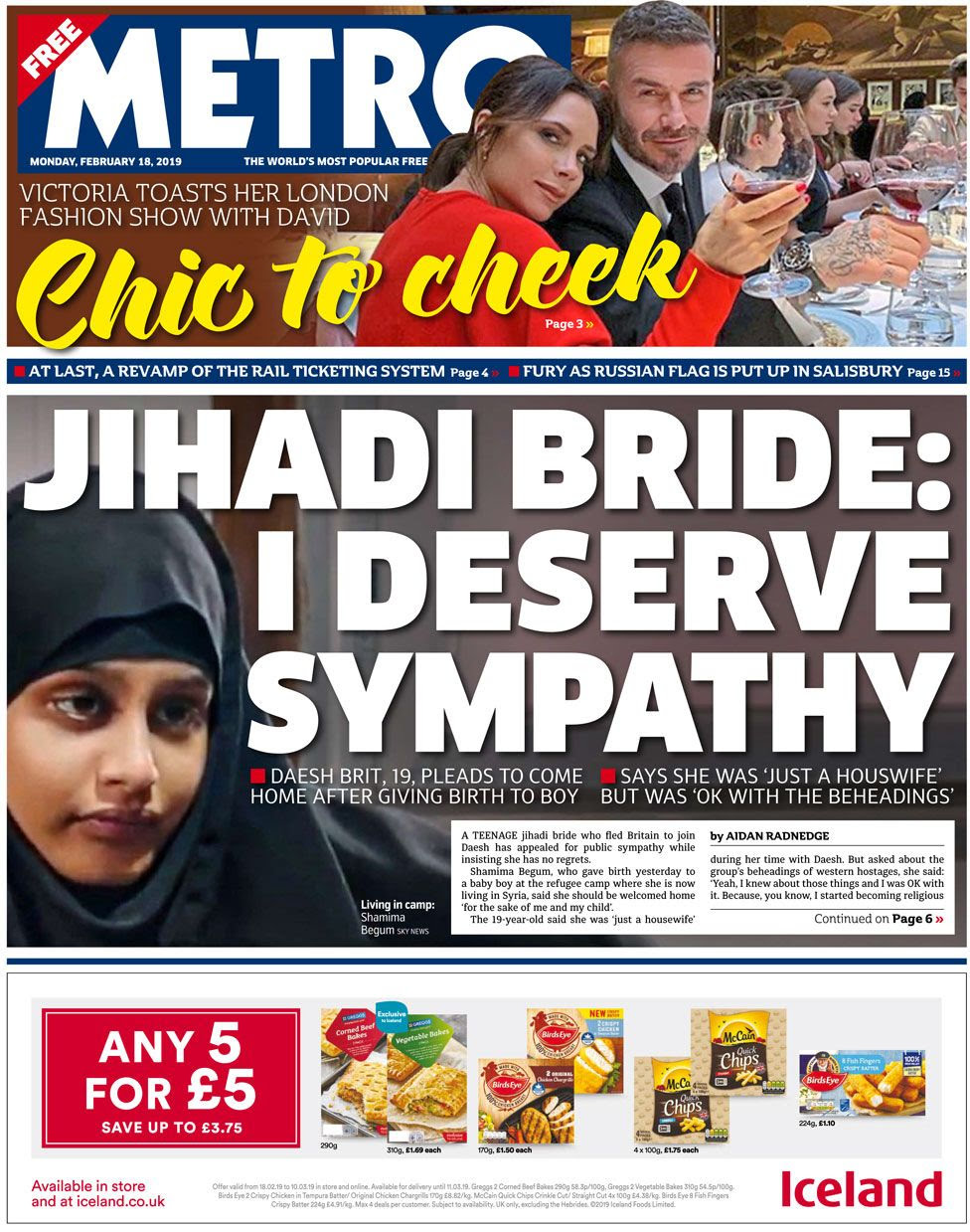 Metro front page 18 February 2019