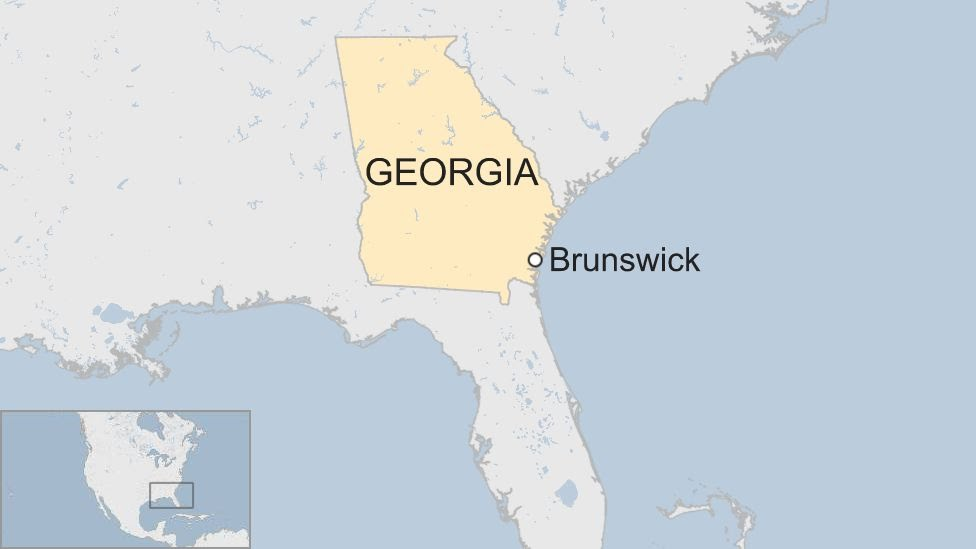 A map showing the location of Brunswick in southeast of the US state of Georgia