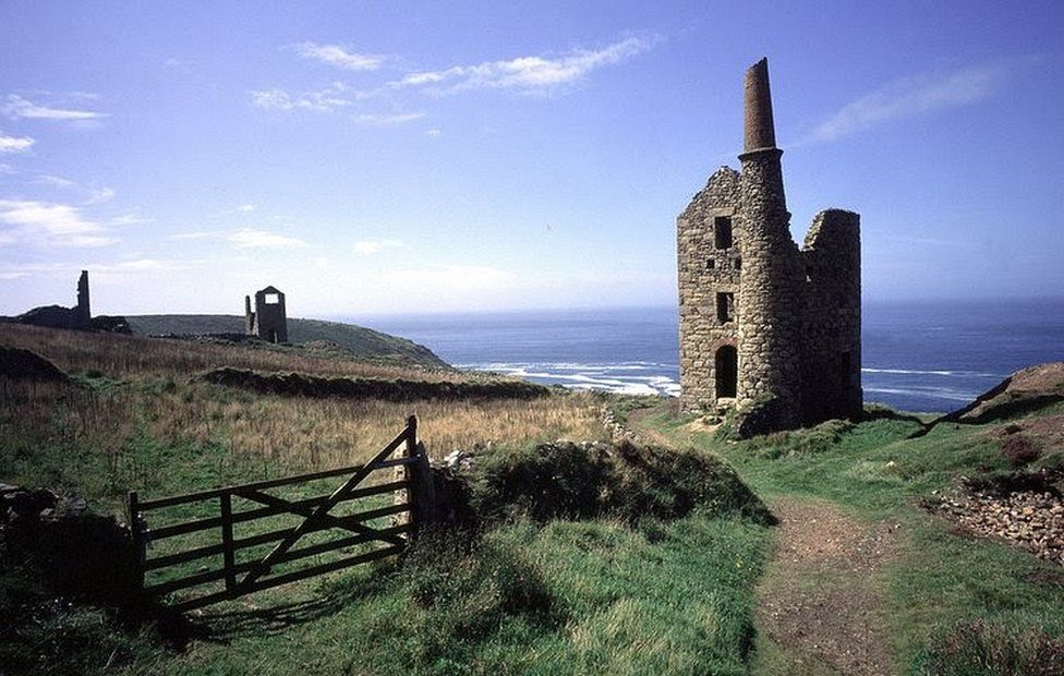 An abandoned tin mine at Botallack on the West Penwith coast of Cornwall