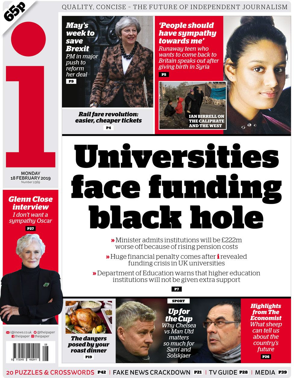 The i front page on 18 February 2019