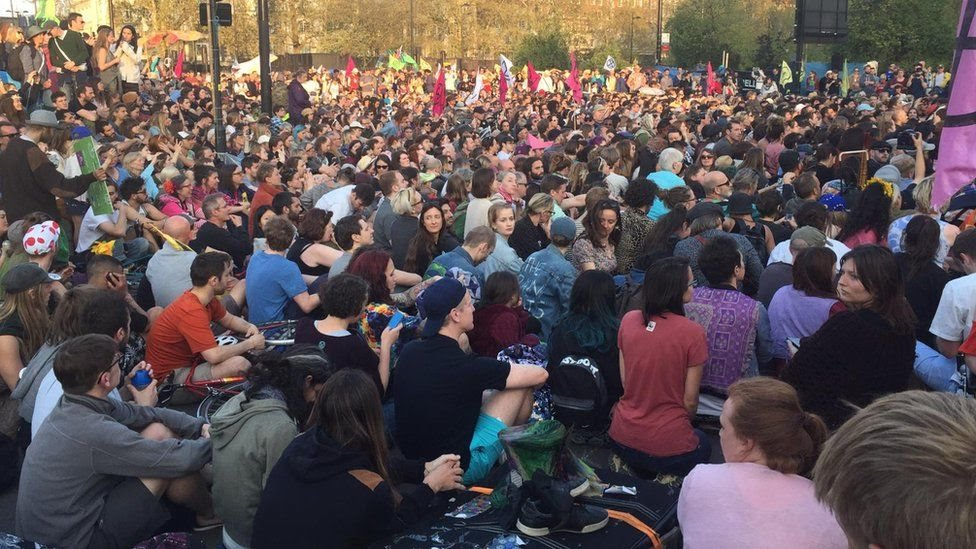 Protesters gathered at Marble Arch