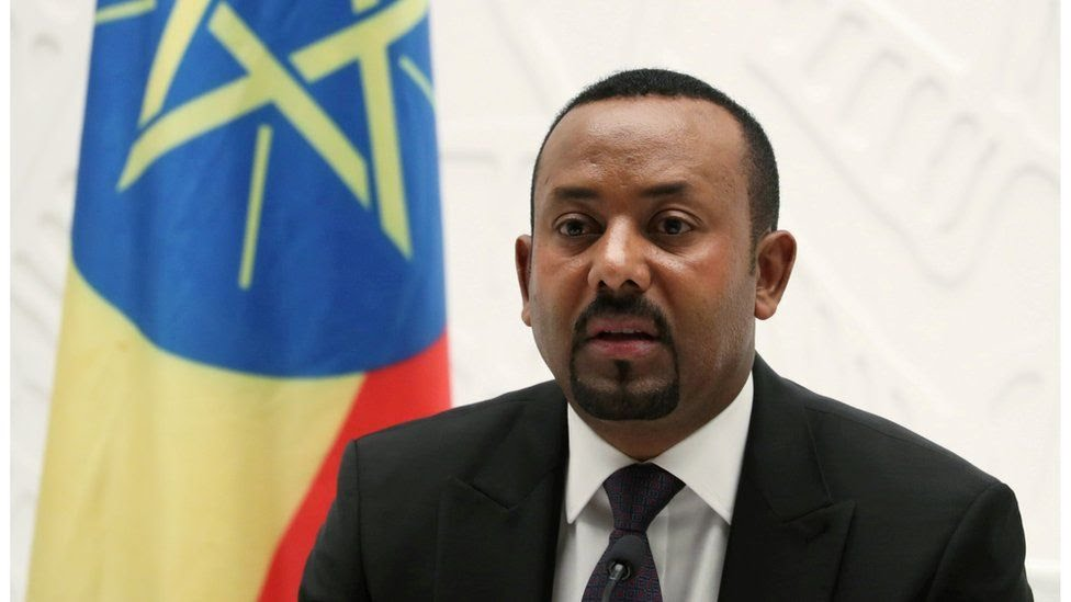 Abiy Ahmed speaking at a news conference in Addis Ababa in August 2019