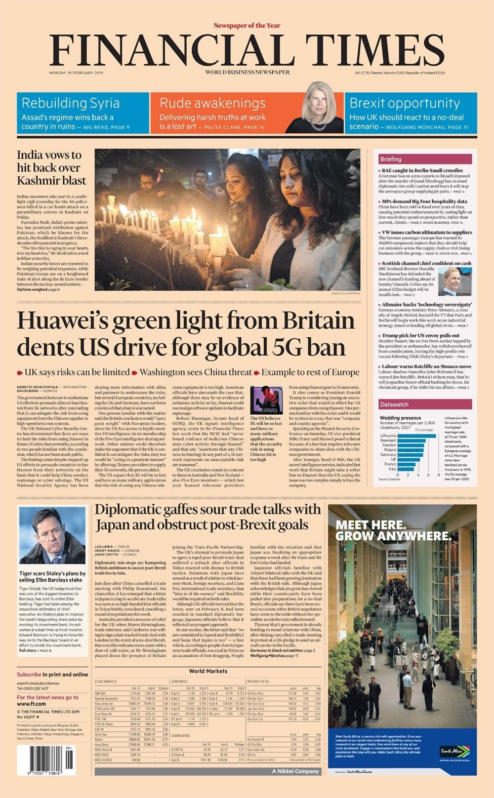 Financial Times front page 18 February 2019