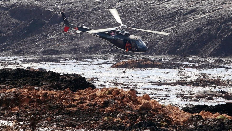 Helicopters sent to help recover people caught in the sludge
