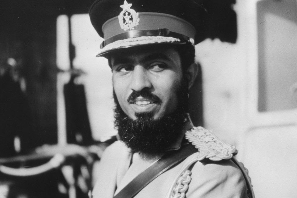 Qaboos bin Said Al Said, in military uniform, circa 1970