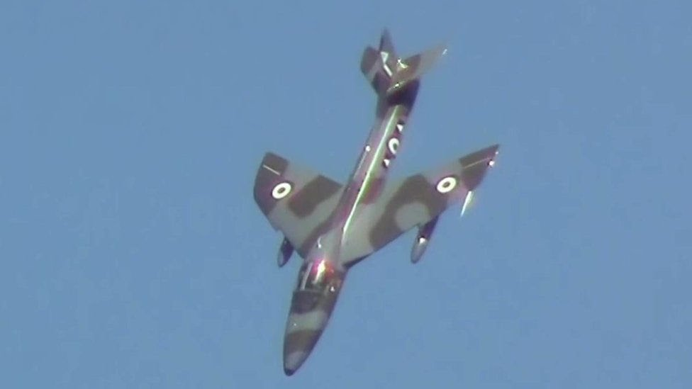 Hawker Hunter jet plane prior to plummeting onto the A27