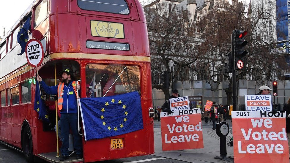 Rival Brexit protesters in Westminster