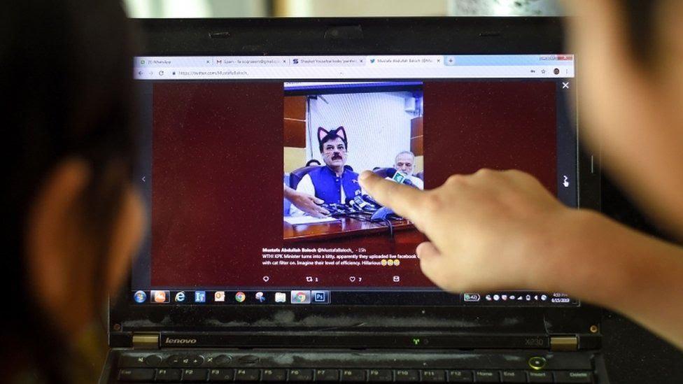 A Facebook live stream of Shaukat Yousafzai