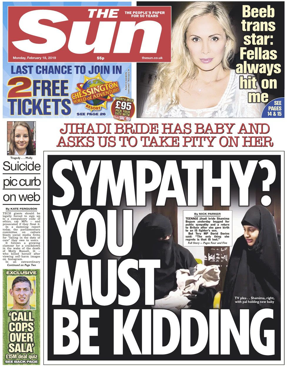The Sun front page on 19 February 2019