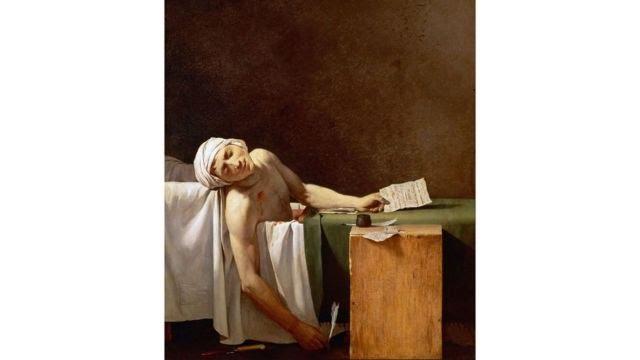 Pintura 'A Morte de Marat', de Jacques-Louis David